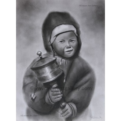 Tibetan boy with prayer wheel