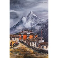 Mount Amadablam with Thyangboche Monastry