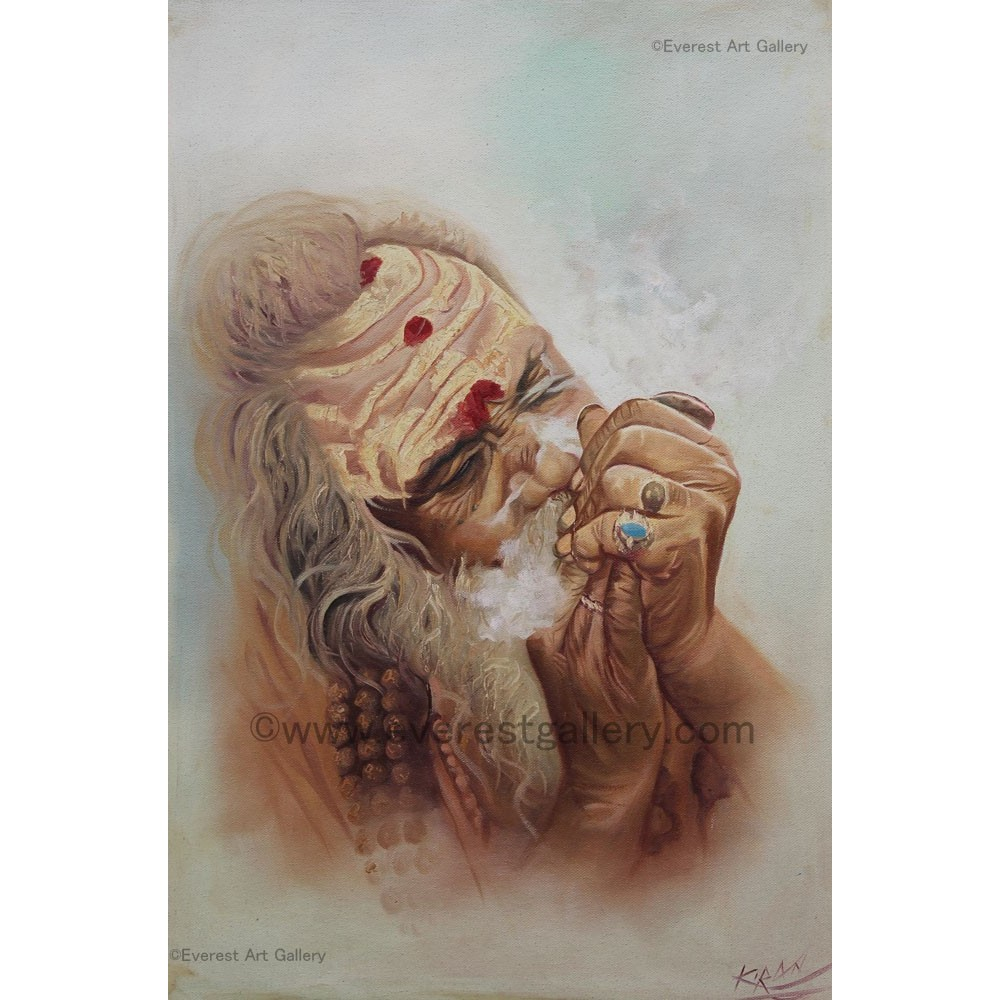 Buy oil painting of Smoking Sadhu from Nepal