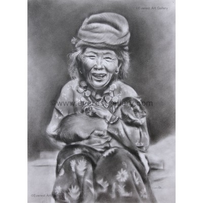 Tibetan Old Women with a baby goat